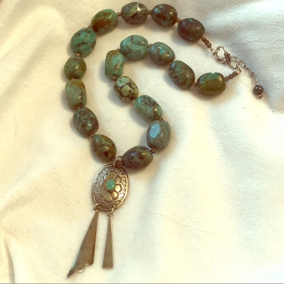 Sterling Silver Turquoise Concho Pendant Necklace